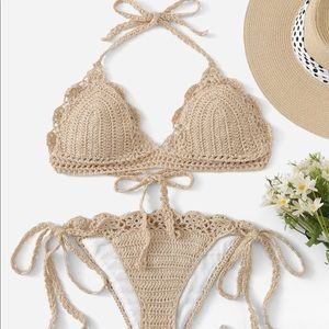 Other - Just In Beautiful Crochet Halter Top Bikini Set